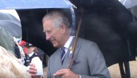 Frodo gets a Royal pat from Prince Charles and the Duchess of Cornwall