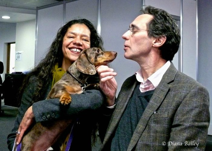BB News Editor, Josef, with Jaye Griffiths and Guy Henry